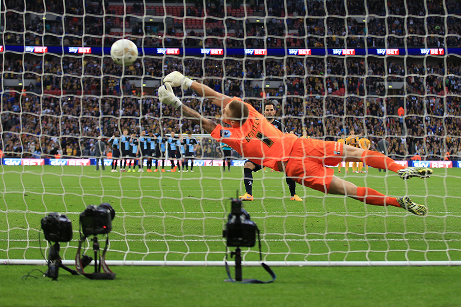 23 May 2015 - Sky Bet League 2 Play-Off Final - Southend United v Wycombe Wanderers - Daniel Bentley of Southend United gets a glove on a penalty from Sam Wood of Wycombe Wanderers, pushing it onto the post and seeing Southaned United through to League one with promotion - Photo: Marc Atkins / Offside.