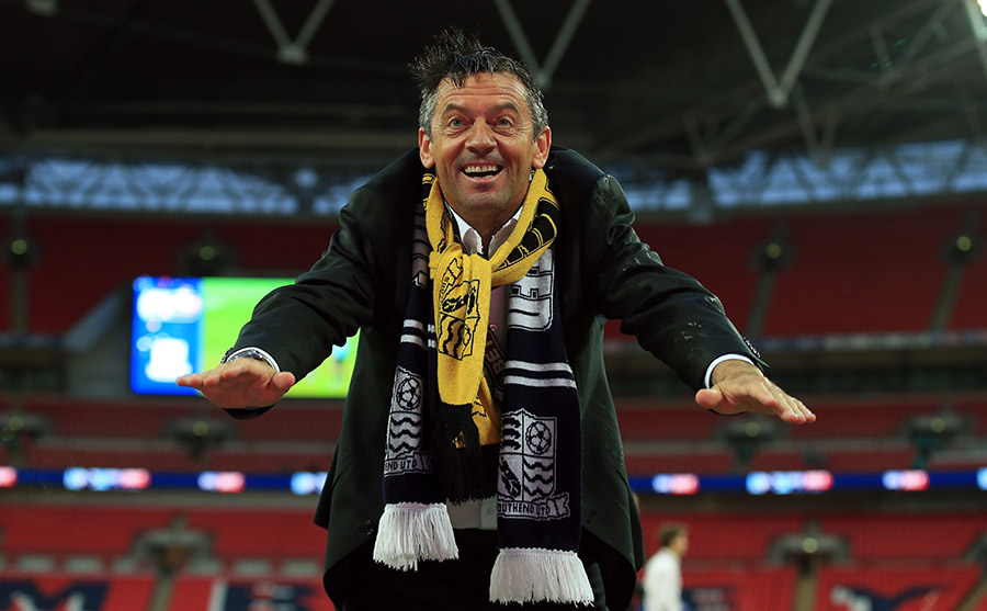 23 May 2015 - Sky Bet League 2 Play-Off Final - Southend United v Wycombe Wanderers - Phil Brown manager of Southend United celebrates promotion - Photo: Marc Atkins / Offside.