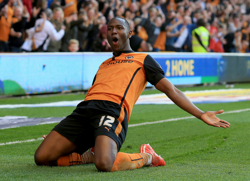 6th April 2015 - Skybet Championship - Wolverhampton Wanderers v Leeds United - Benik Afobe of Wolverhampton Wanderers celebrates after scoring (3-1) - Photo: Paul Roberts / Offside.