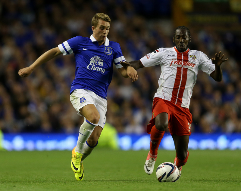 28th August 2013 - Capital One Cup (2nd Round) - Everton v Stevenage - Gerard Deulofeu of Everton battles with Roarie Deacon of Stevenage - Photo: Simon Stacpoole / Offside.