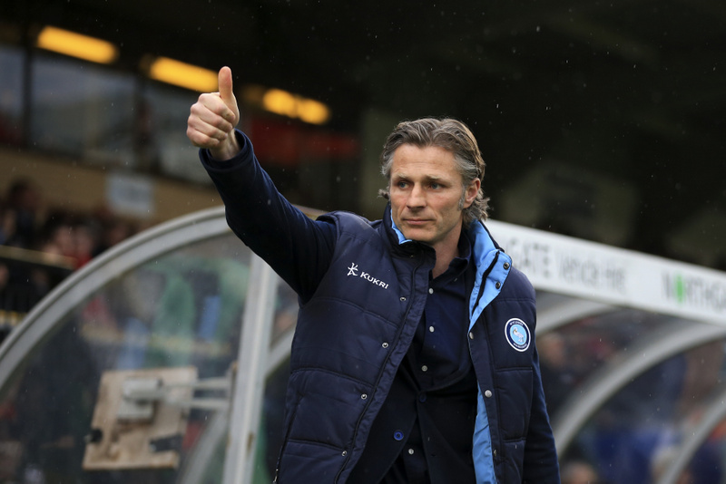 14 May 2015 - Sky Bet League Two - Play-Off Semi-Final 2nd Leg - Wycombe Wanderers v Plymouth Argyle - Gareth Ainsworth, Manager of Wycombe Wanderers gives a thumbs up - Photo: Marc Atkins / Offside.