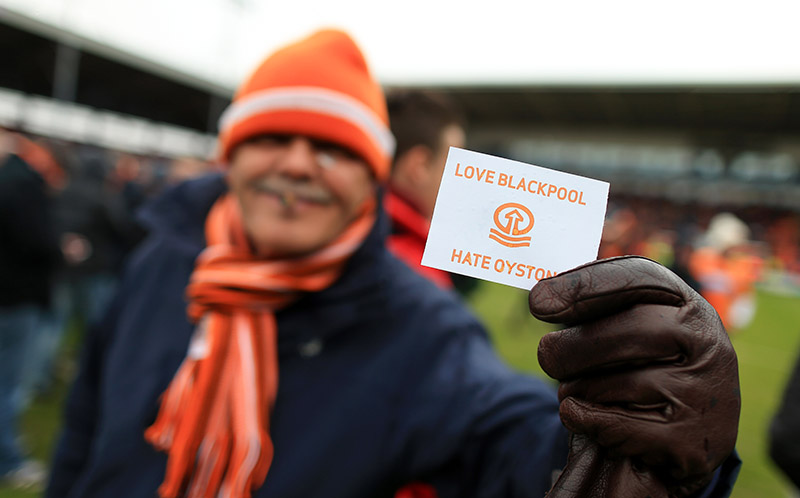 2nd May 2015 - Sky Bet Championship - Blackpool v Huddersfield Town - A Blackpool fan reveals his hatred for Blackpool Chairman Karl Oyston - Photo: Simon Stacpoole / Offside.
