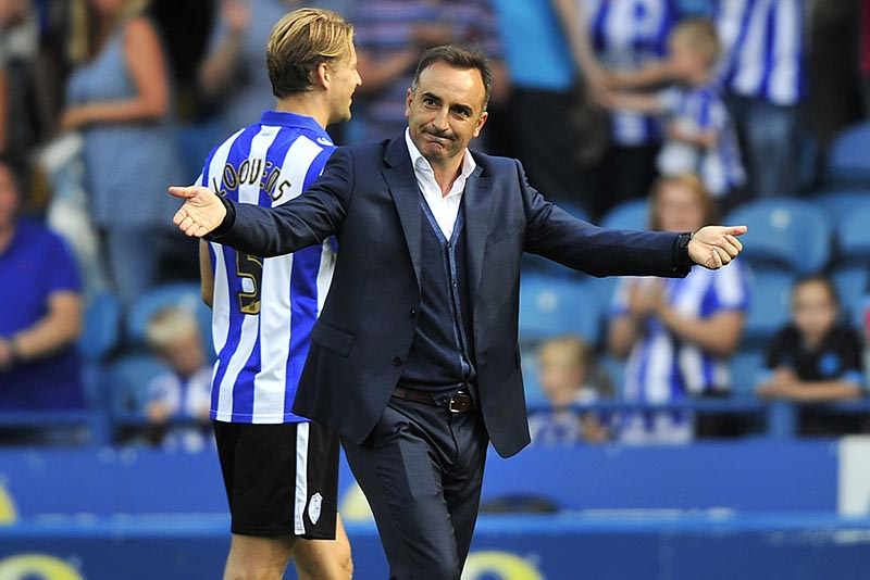 Sheffield Wednesday vs Bristol City, 8th August 2015. Picture Steve Parkin  NEW OWLS BOSS Carlos Carvahal Thanks the fans at the end of his 1st win as owls boss in his 1st league game in charge