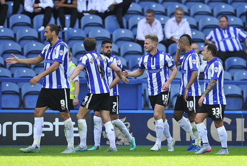 Sheffield Wednesday vs Bristol City, 8th August 2015. Owls Tom Lees 15 celebrates after scoring 1st goal  Picture Steve Parkin