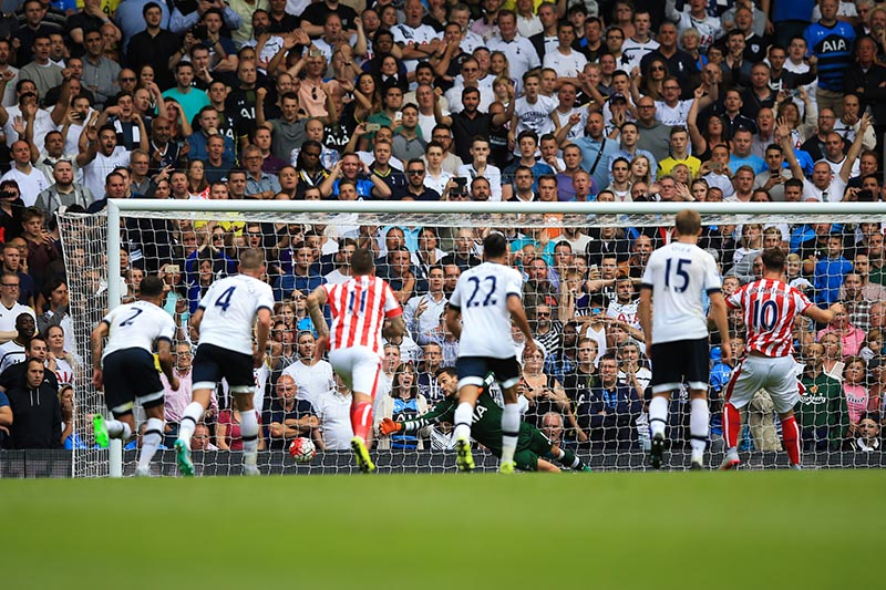 15 August 2015 - Barclays Premier League - Tottenham Hotspur v Stoke City - Marko Arnautovic of Stoke City scores his sides 1st goal from the penalty spot - Photo: Marc Atkins / Offside.
