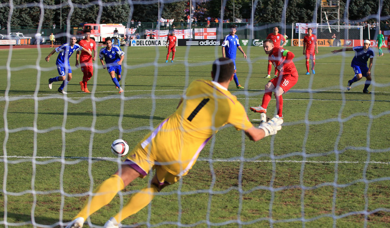 5 September 2015 - UEFA European Championship Qualifying (Group E) - San Marino v England - Wayne Rooney scores a goal  from the penalty spot - Photo: Marc Atkins / Offside.