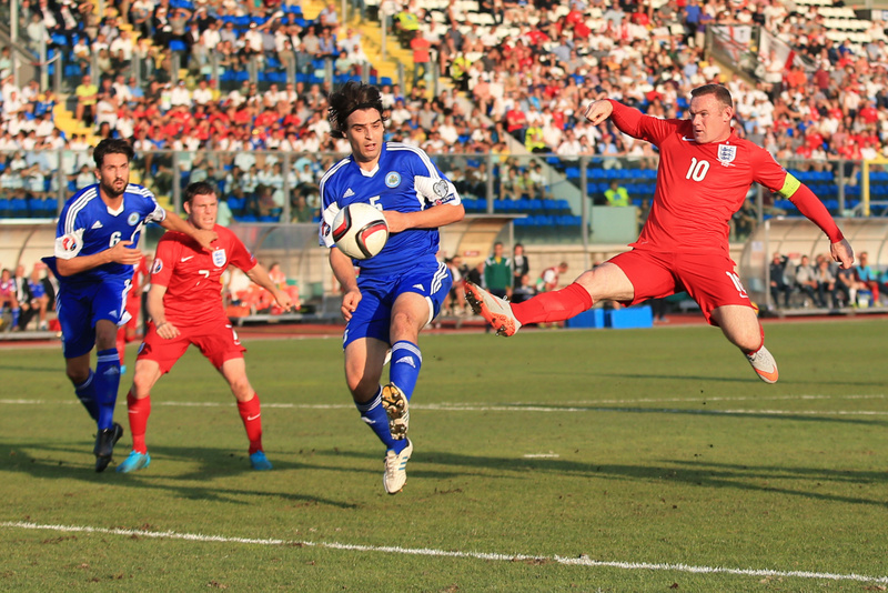5 September 2015 - UEFA European Championship Qualifying (Group E) - San Marino v England - Wayne Rooney of England almost latches onto the ball to break the all time scoring record but instead the ball is turned into the net by Davide Simoncini of San Marino - Photo: Marc Atkins / Offside.