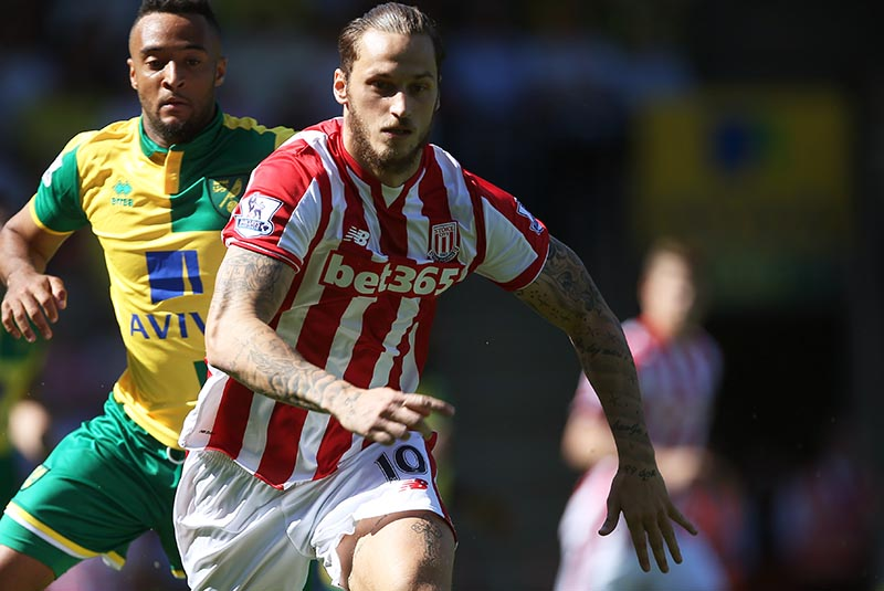 22 August 2015 Premier League Football ; Norwich City v Stoke City ;  Marko Arnautovic of Stoke. Photo: Mark Leech