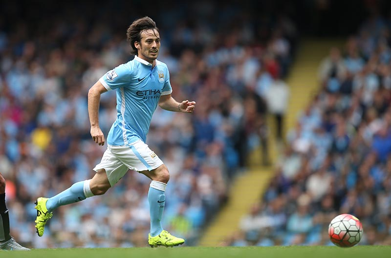 29 August 2015 Premier League Football - Manchester City v Watford;  David Silva of City. Photo: Mark Leech