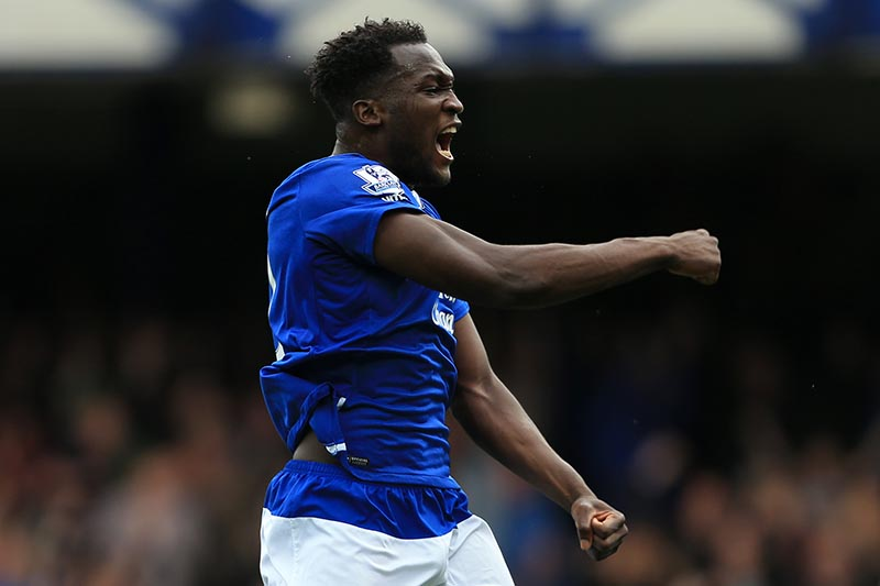 12th September 2015 - Barclays Premier League - Everton v Chelsea - Romelu Lukaku of Everton celebrates their 2nd goal - Photo: Simon Stacpoole / Offside.