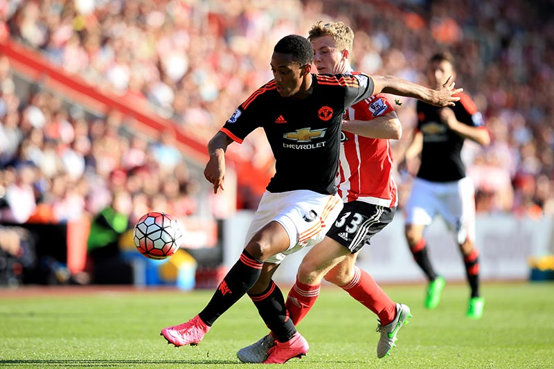 20 September 2015 - Barclays Premier League - Southampton v Manchester United - Anthony Martial of Manchester United in action with Matt Targett of Southampton - Photo: Marc Atkins / Offside.