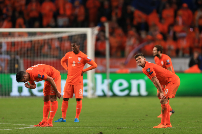 13th October 2015 - European Championship Qualifying (Group A) - Netherlands v Czech Republic - Klaas Jan Huntelaar of Netherlands (R) and his teammates look dejected - Photo: Simon Stacpoole / Offside.