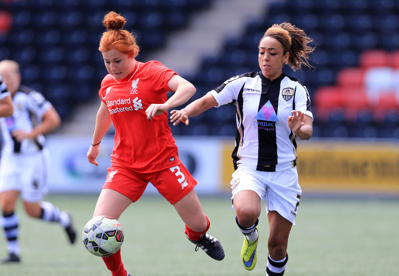 18th July 2015 - FA Women's Super League - Liverpool Ladies v Notts County Ladies - Martha Harris of Liverpool battles with Jess Clarke of Notts County - Photo: Simon Stacpoole / Offside.