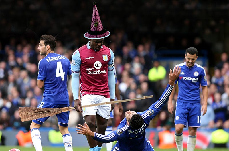 17 October 2015 - Premier League - Chelsea v Aston Villa Diego Costa of Chelsea reacts to an apparent attack by Micah Richards Photo: Charlotte Wilson