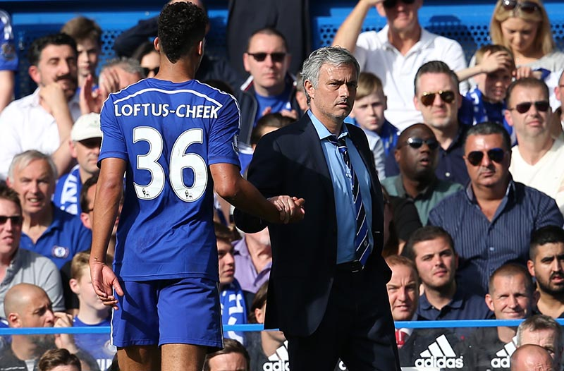 10 May 2015 Premier League Football - Chelsea v Liverpool :  Ruben Loftus-Cheek and Jose Mourinho. Photo: Mark Leech