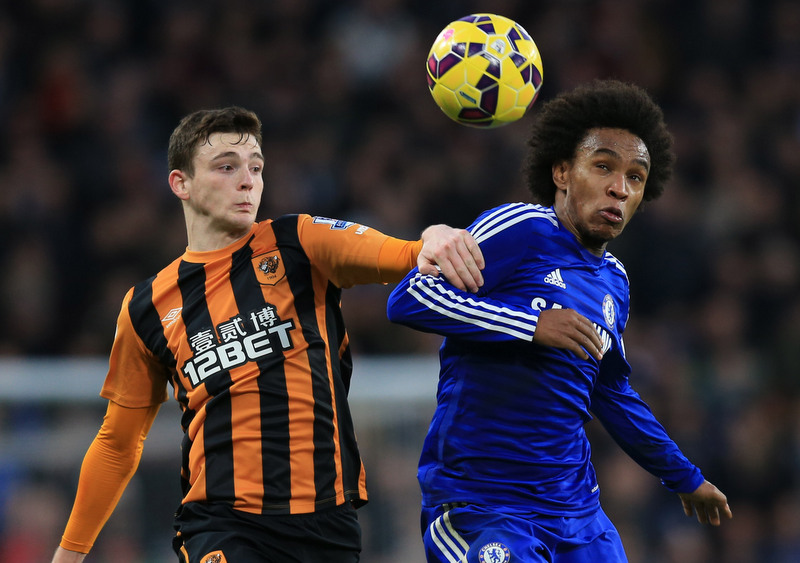 13 December 2014 - Barclays Premier League - Chelsea v Hull City - Willian of Chelsea in action with Andrew Robertson of Hull City - Photo: Marc Atkins / Offside.