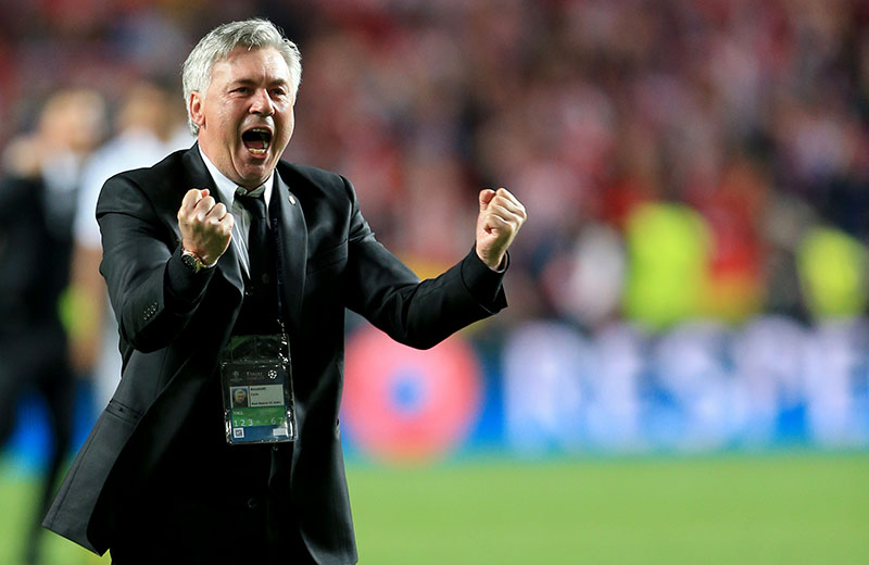 24 May 2014 - UEFA Champions League Final 2014 - Real Madrid v Atlectico Madid - Carlo Ancelotti Manager of Real Madrid celebrates - Photo: Marc Atkins / Offside.