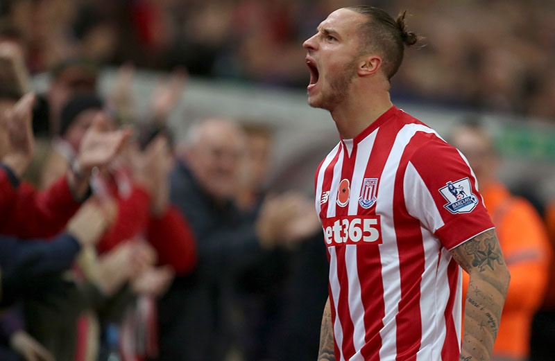 7th November 2015 - Barclays Premier League - Stoke City v Chelsea - Marko Arnautovic of Stoke City celebrates after opening the scoring (1-0) - Photo: Paul Roberts / Offside.