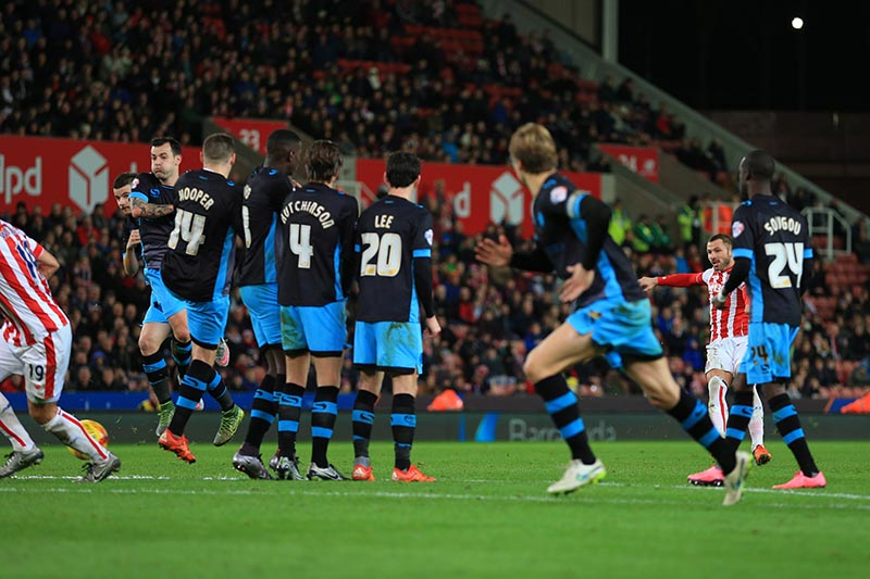 1st December 2015 - Capital One Cup (Quarter Final) - Stoke City v Sheffield Wednesday - Phillip Bardsley of Stoke scores their 2nd goal - Photo: Simon Stacpoole / Offside.