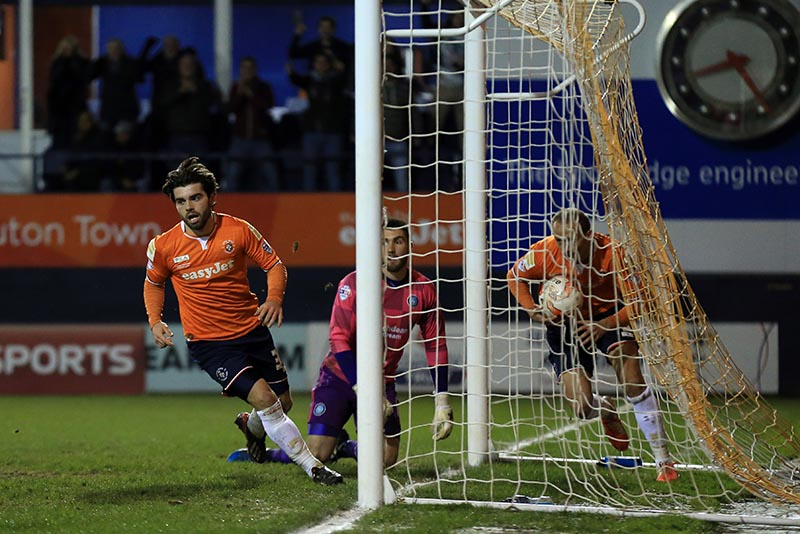 24 March 2015 - Sky Bet Football League Two - Luton Town v Wycombe Wanderers - Elliott Lee of Luton Town celebrates scoring his 2nd goal - Photo: Marc Atkins / Offside.