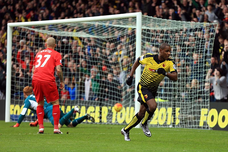 16 December 2015 - Barclays Premier League - Watford v Liverpool - Odion Ighalo of Watford celebrates scoring  their 2nd goal - Photo: Marc Atkins / Offside.