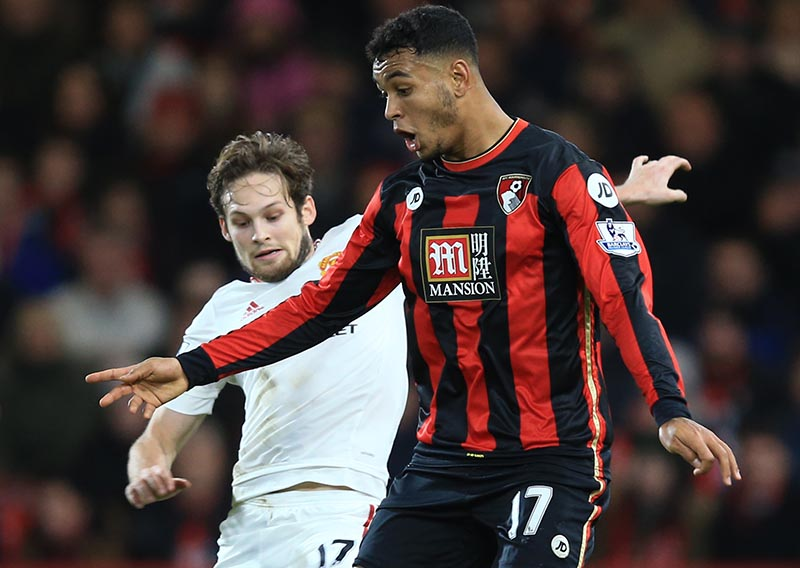 12 December 2015 - Barclays Premier League - Bournemouth v Manchester United - Joshua King of Bournemouth in action with Daly Blind of Manchester United - Photo: Marc Atkins / Offside.