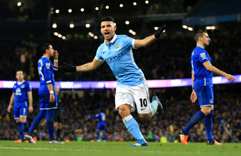 27th January 2016 - Capital One Cup - Semi-Final (2nd Leg) - Manchester City v Everton - Sergio Aguero of Man City celebrates after scoring their 3rd goal - Photo: Simon Stacpoole / Offside.
