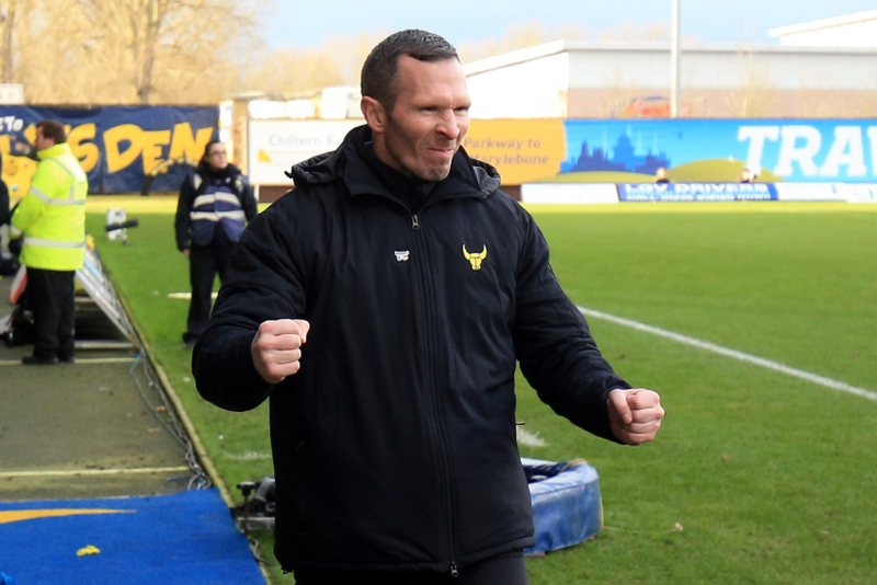 10 January 2016 - The Emirates FA Cup - 3rd Round - Oxford United v Swansea City - Oxford United manager Michael Appleton celebrates the win at full time - Photo: Marc Atkins / Offside.