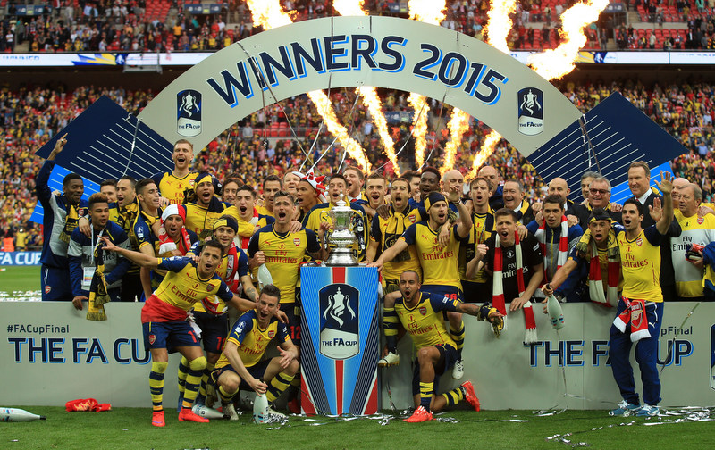 30 May 2015 -FA Cup Final 2015 - Aston Villa v Arsenal - Arsenal players celebrate winning the FA Cup - Photo: Marc Atkins / Offside.