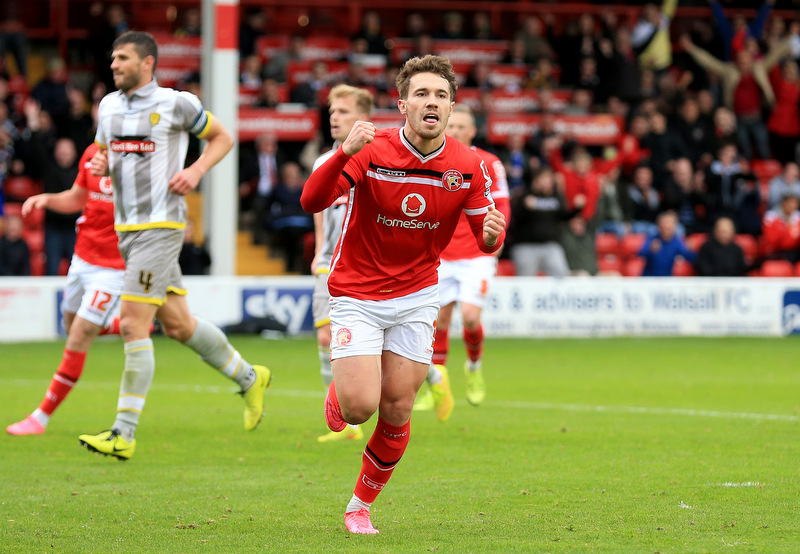 10th October 2015 - Skybet League 1 - Walsall v Burton Albion - Tom Bradshaw of Walsall celebrates after scoring from the penalty spot to extent the lead (2-0) - Photo: Paul Roberts / Offside.