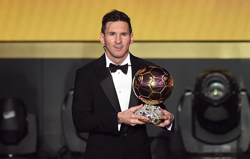 11 January 2016 - Ballon d'Or Lionel Messi wins the FIFA Ballon d'Or Photo: Offside / EQ Images