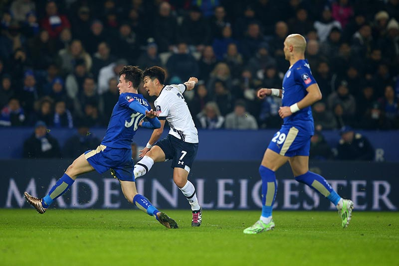 20 January 2016 - The Emirates FA Cup 3rd Round (Replay) - Leicester City v Tottenham Hotspur - Son Heung-min of Tottenham Hotspur scores the opening goal - Photo: Marc Atkins / Offside.