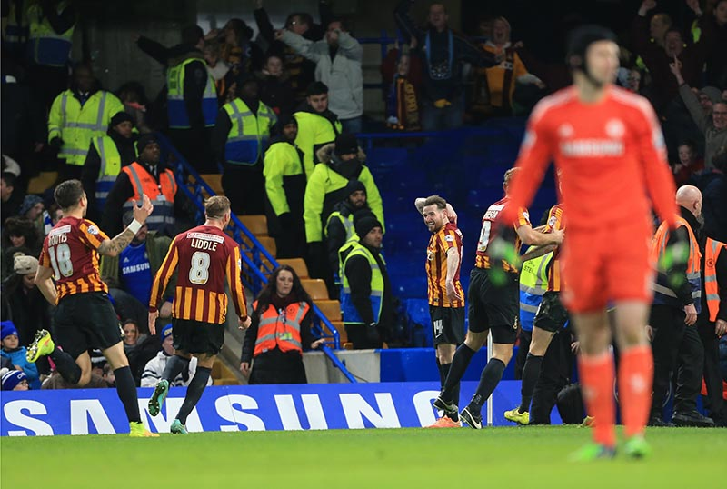 24 January 2015 - FA Cup 4th Round - Chelsea v Bradford City - Bradford's Mark Yeates celebrates scoring his sides fourth goal