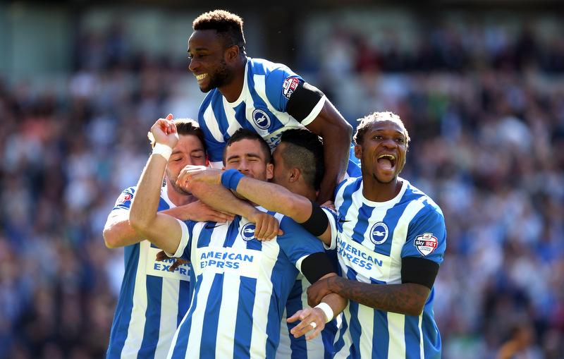 CityBrighton players swarm Tomer Hemed to celebrate his goalPhoto: Charlotte Wilson