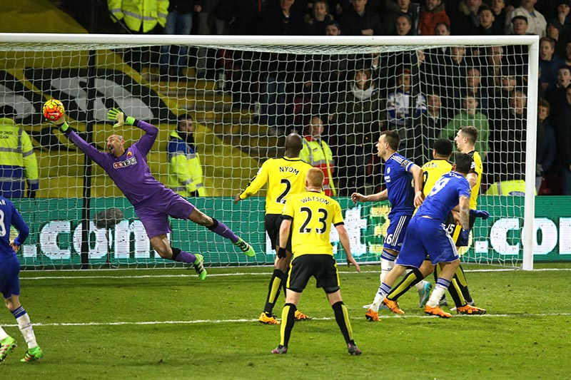 3 February 2016 - Barclays Premier League - Watford v Chelsea - Diego Costa of Chelsea sees his late headed effort saved by Watford goalkeeper, Heurelho Gomes - Photo: Marc Atkins / Offside.