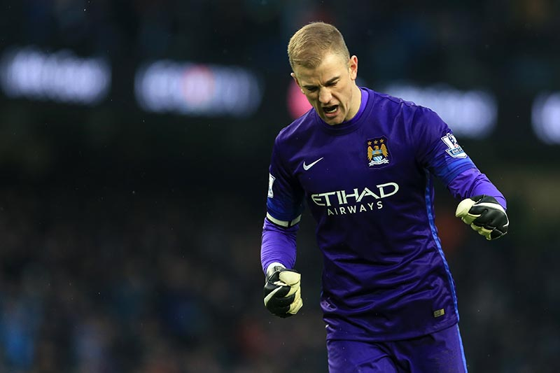 16th January 2016 - Barclays Premier League - Manchester City v Crystal Palace - Man City goalkeeper Joe Hart celebrates - Photo: Simon Stacpoole / Offside.