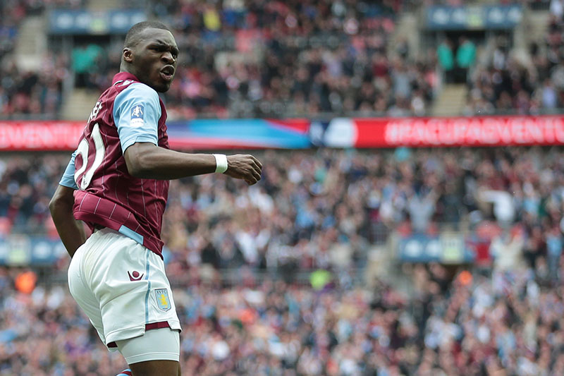 19 April 2015 - FA Cup - Semi-Final - Aston Villa v Liverpool - Christian Benteke of Aston Villa celebrates scoring the equalising goal - Photo: Marc Atkins / Offside.