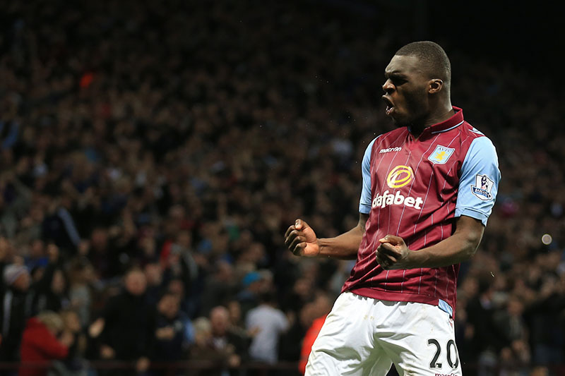 07 April 2015 - Barclays Premier League - Aston VIlla v Queens Park Rangers - Christian Benteke of Aston Villa celebrates scoring his hat trick goal - Photo: Marc Atkins / Offside.