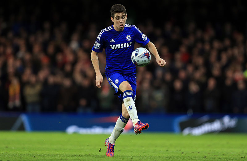 27 January 2015 - Capital One Cup Semi Final (2nd leg) - Chelsea v Liverpool - Oscar of Chelsea - Photo: Marc Atkins / Offside.