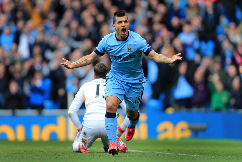19th April 2015 - Barclays Premier League - Manchester City v West Ham United - Sergio Aguero of Man City celebrates after scoring their 2nd goal - Photo: Simon Stacpoole / Offside.