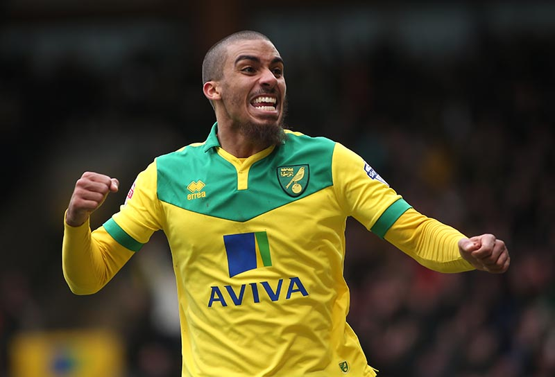 01 March 2015 - Sky Bet Championship - Norwich City v Ipswich Town - Lewis Grabban of Norwich celebrates the second goal. Photo: Ryan Smyth/Offside