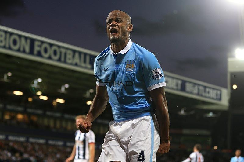 10th August 2015 - Barclays Premier League - West Bromwich Albion v Manchester City - Vincent Kompany of Man City celebrates after scoring their 3rd goal - Photo: Simon Stacpoole / Offside.