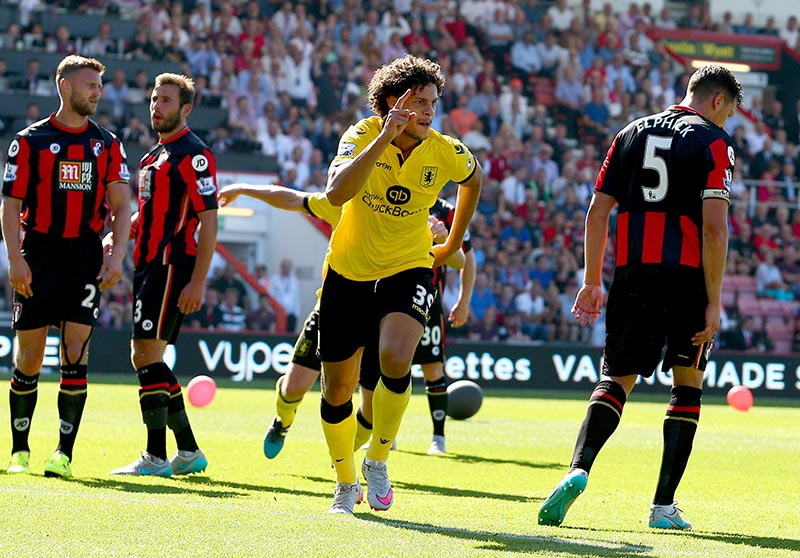 8th August 2015 - Barclays Premier League - AFC Bournemouth v Aston Villa - Rudy Gestede of Aston Villa celebrates after scoring the opening goal (0-1) - Photo: Paul Roberts / Offside.