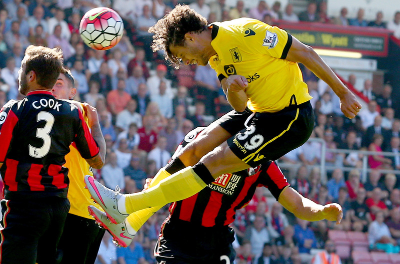 8th August 2015 - Barclays Premier League - AFC Bournemouth v Aston Villa - Rudy Gestede of Aston Villa powers home the opening goal (0-1) - Photo: Paul Roberts / Offside.