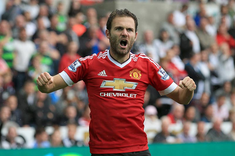 30th August 2015 - Barclays Premier League - Swansea v Manchester United - Juan Mata of Manchester United celebrates the opening goal for the away side (0-1) - Photo: Paul Roberts / Offside.