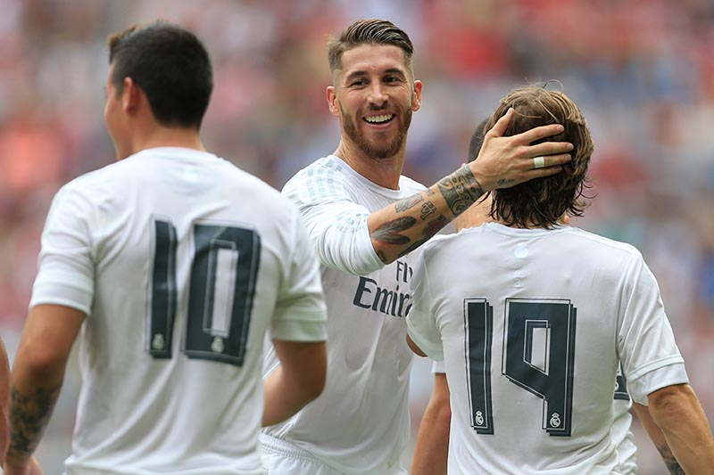 4th August 2015 - Pre-Season Friendly - Audi Cup - Real Madrid v Tottenham Hotspur - Sergio Ramos of Real celebrates with teammates - Photo: Simon Stacpoole / Offside.