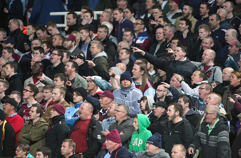 08 November 2014 - Barclays Premier League - West Ham United v Aston Villa - West Ham fans react angrily on a frustrating afternoon for their team. Photo: Ryan Smyth/Offside