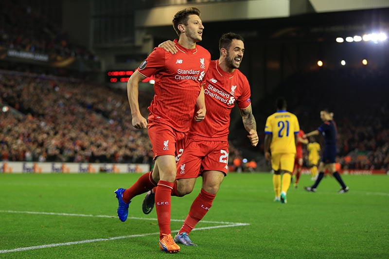 1st October 2015 - UEFA Europa League - Group B - Liverpool v FC Sion - Adam Lallana of Liverpool (L) celebrates with teammate Danny Ings after scoring their 1st goal - Photo: Simon Stacpoole / Offside.