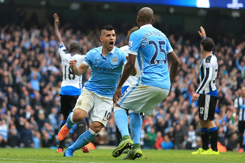 3rd October 2015 - Barclays Premier League - Manchester City v Newcastle United - Sergio Aguero of Man City celebrates after scoring their 1st goal - Photo: Simon Stacpoole / Offside.