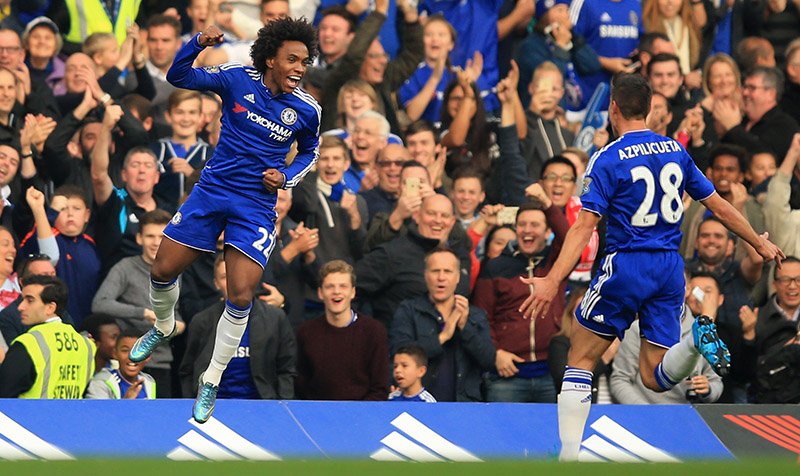 3 October 2015 - Barclays Premier League - Chelsea v Southampton - Willian of Chelsea celebrates scoring the opening goal from a free kick - Photo: Marc Atkins / Offside.